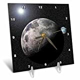 3D Rose dc_19949_1 3dRose Solar System Scene of Planet Earth and Moon Dancing in Space Orbit-Desk Clock, 6 by 6-inch