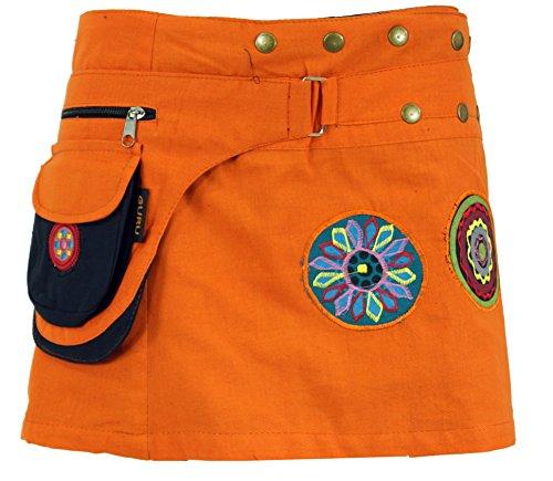 Guru-Shop Bestickter Wickelrock, Kurzer Goa Rock, Cacheur, Damen, Orange, Baumwolle, Size:One Size, Cacheure/Hüftschmeichler Alternative Bekleidung