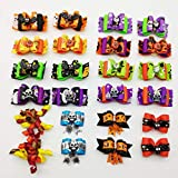 Hixixi 24pcs/12pairs Rhinestone Skull Pet Dog Hair Bows Halloween Designs Puppy Grooming Bows Hair Accessories with Rubber Bands (3D Big Bows)