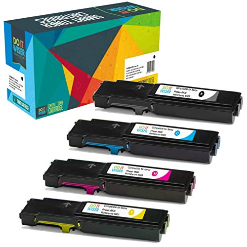 Do it Wiser Compatible Toner Cartridge Replacement for Xerox Phaser 6600, WorkCentre 6605 High Yield - 106R02228 106R02225 106R02226 106R02227 (4-Pack) ()