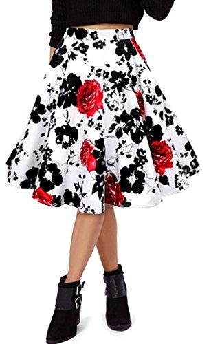 50 Jupe Eudolah Femme uni vintage midi style imprim Fleur fleurs des swing annes Rouge vxd6Aq