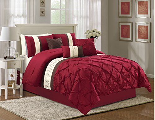 Luxury 7 Piece Pinch Pleat Comforter Set with Embroidered Finish – Includes Comforter, 3 Decorative Pillows, 2 Shams and a Bed skirt (Burgundy, (Pinch Pleat Skirt)
