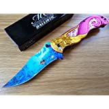 Master Collection Spring Assisted Folding Knife Mermaid Pink Tail MC-A013PK - hunting knives, military surplus - survival and camping gear