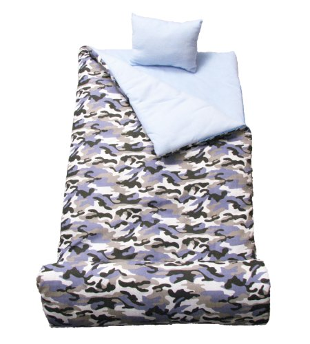 SoHo kids Blue Camouflage children sleeping slumber bag with pillow and carrying case lightweight foldable for sleep ()