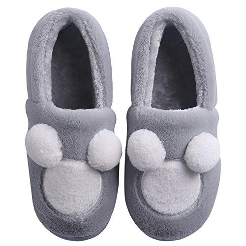 Y-Hui amantes de invierno zapatillas de algodón bolso con vello femenino Bola inferior suave, a prueba de deslizamiento inferior grueso Invierno Hombre Interior Inicio gray