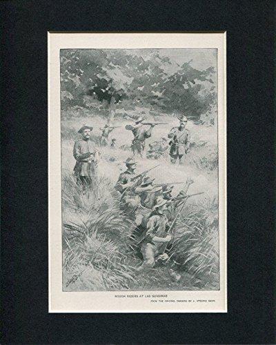 Rough Riders At Las Guasimas Spanish-American War Original Book Photo Display