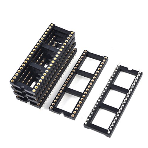 6x 2.54mm Pitch 40 Round Pins Double Row DIP IC Socket Adapter Solder