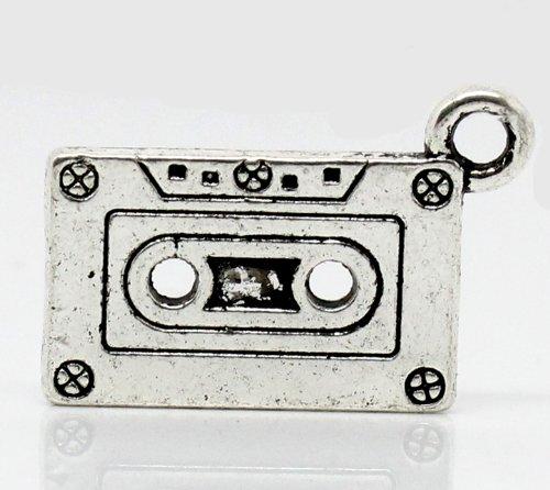 Alloy Cassette - PEPPERLONELY 20pc Antiqued Silver Alloy Cassette Tape Charms Pendants 27x13mm (1-1/8