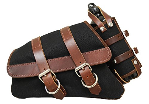 La Rosa Design 2004-UP Sportster Canvas Saddle Bag - Black with Brown Leather Accents and Fuel Bottle Holder