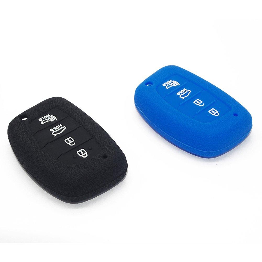 Pack of 2 Silicone Case Protector Key Fob Cover Fits 2015 2016 2017 2018 Hyundai Elantra Sonata Tucson I40 IX35 I45 Four Buttons SUV Smart Entry Remote Key NOT FLIP Key Hvasun