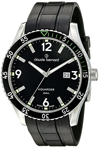 Claude Bernard Men's 53008 3NVCA NV Aquarider Stainless Steel Watch with Black Silicone Band