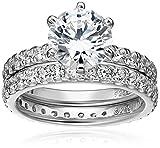 Platinum-Plated Sterling Silver Swarovski Zirconia Ring Set, Size 5