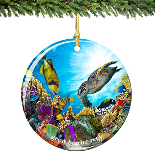 City-Souvenirs Great Barrier Reef Christmas Ornament Porcelain 2.75 Inch Double Sided Ocean Christmas -