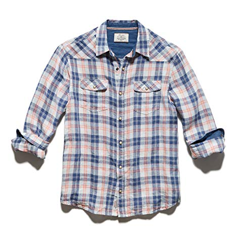 Flag & Anthem Men's Long Sleeve Double Pocket Plaid Western Snap Shirt, M, Bandon Pink Grey (Pink Plaid Western Shirt)