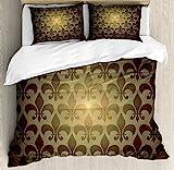 Ambesonne Fleur De Lis Decor Duvet Cover Set, Royal Lily Flower Inspired Floral Baroque Style Dark Pattern Modern Decorative Art, 3 Piece Bedding Set with Pillow Shams, Queen/Full, Brown