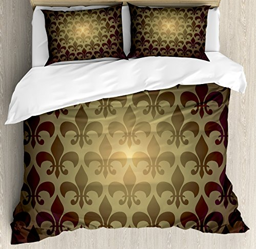 Ambesonne Fleur De Lis Decor Duvet Cover Set, Royal Lily Flower Inspired Floral Baroque Style Dark Pattern Modern Decorative Art, 3 Piece Bedding Set with Pillow Shams, Queen/Full, Brown
