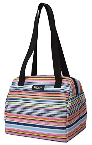 PackIt Freezable Hampton Lunch Bag, Blanket Stripe (Uptown Silverware)