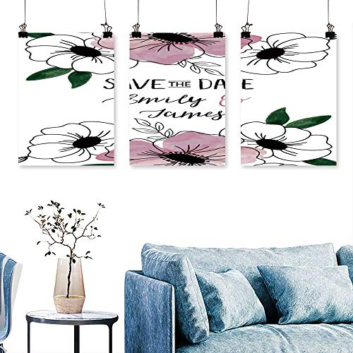 SCOCICI1588 3 Panel Canvas Wall ArtVintage wed Invitation Flowers Save The Date Design Drawn to Hang for Living Room No Frame 24 INCH X 40 INCH X -