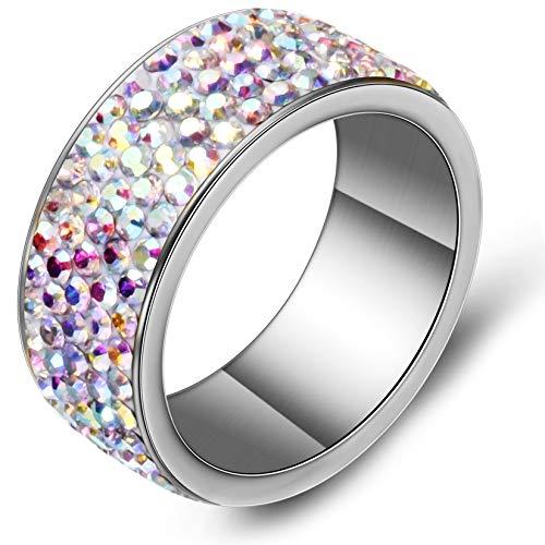 TUJI AB Shining 5 Row Crystal Weeding Ring For Women Girls (9) ()