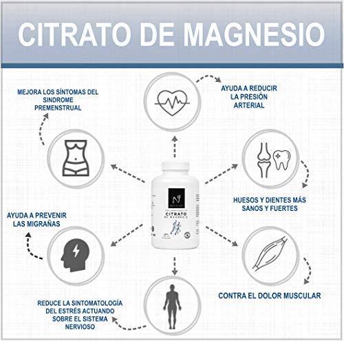 Magnesio, suplemento citrato de magnesio con 720mg por cápsula. Magnesio puro concentrado de alta biodisponibilidad. mejora el funcionamiento de huesos, ...