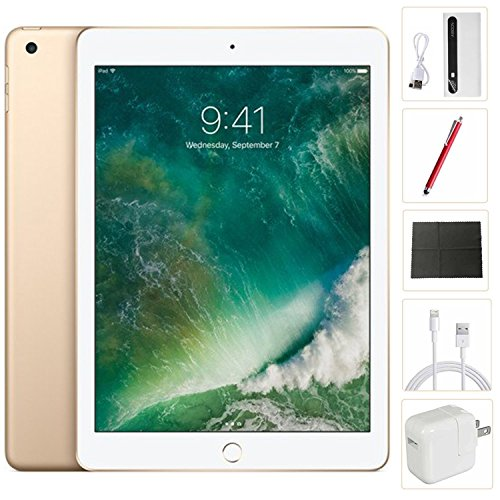Apple iPad mini 4 Tablet (128GB, Gold, 7.9 Inch, 2017 Model, WiFi) + Accessories Bundle (10.00mAh iPad Power Bank, iPad Stylus Pen, Microfiber Cloth) MK9Q2LL/A by Apple Tablet