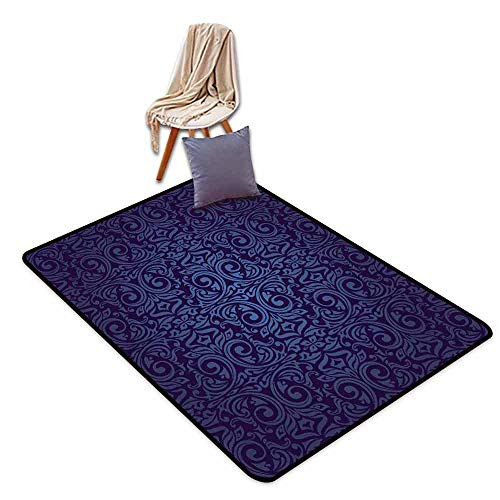 (Anti-Static Rug Indigo Victorian Vintage Ancient Royal Times Inspired Floral Leaves Swirls Image Artprint Anti-Fading W71 xL94.5 Dark Blue)