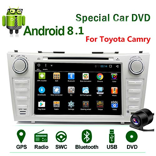 (Binize Android 8.1 2Din Car GPS Stereo Radio for Toyota Camry 2007-2011 Touch Screen 8 inch in Dash Auto Video Multimedia CD DVD Mp3 Mp5 Player with Bluetooth WiFi 4G USB SD RDS BT Navigation Camera)