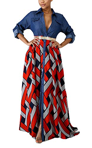 - Women Dresses for Special Occasions Sexy Wedding - Denim Long Sleeve Summer Button Down Collared Geometric Print Prom Homecoming Gown Tunic Shirt Long Maxi Party Dresses Red, Small
