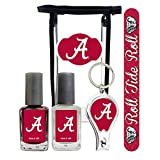 Alabama Crimson Tide Manicure Pedicure Set with 7-Inch Nail File, Nail Clippers, 2 Nail Polishes in Team Colors, and Toiletry Bag for the Whole Kit. NCAA Gifts and Gear for Women