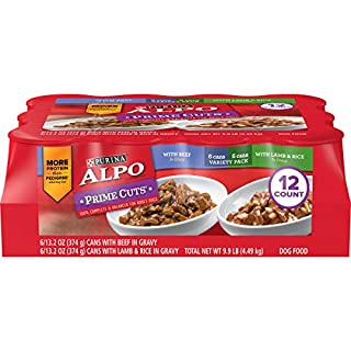 Purina ALPO Gravy Wet Dog Food Variety Pack, Prime Cuts With Beef & With Lamb & Rice - (12) 13.2 oz. Cans