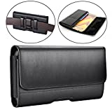 Samsung Galaxy J7 (2017) Case,Galaxy J7v Case/ J7 Prime Case/ J7 Sky Pro Case/ J7 Perx Case Dlames Leather Holster Belt Clip Case Cover ( Fit with a TPU/Thin Case on ) - Black