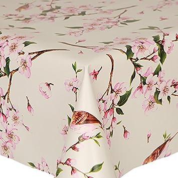 PVC Tablecloth Birds 48u0026quot; Round (122cm) Approx., Pretty Flowers  Oriental Floral