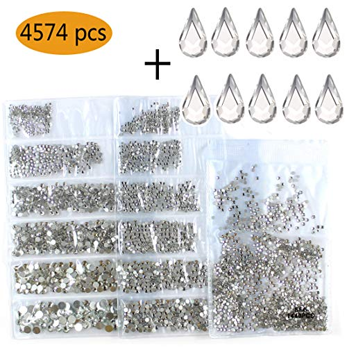 4574pcs Nail Art Rhinestones Clear Nail Crystal Flat back Circular Glass Studs Stones For 3D Nails Art Decorations Manicure Tools(1.3mm - 4.8mm) (Crystal Clear)