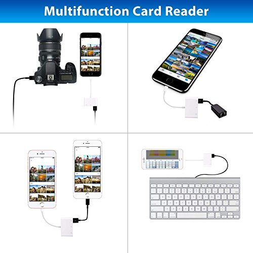 SD Card Reader, Lightning to USB Camera Adapter Memory Card SD/TF Card Reader, Trail Game Camera Adapter for iPhoneX/ 8/ 8plus/ 7/ 7plus/ 6s/ 6s plus/SE/ 5s, iPad Pro/Air/ Mini and iPod by RayCue (Image #2)