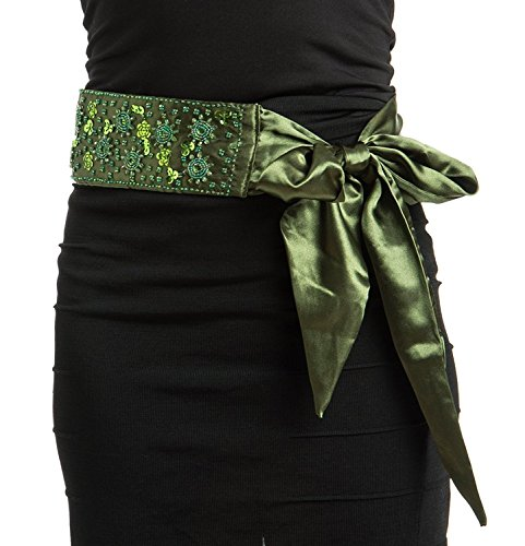 Womens Elegant Bright Bead Detail Sash Green Medium/Large