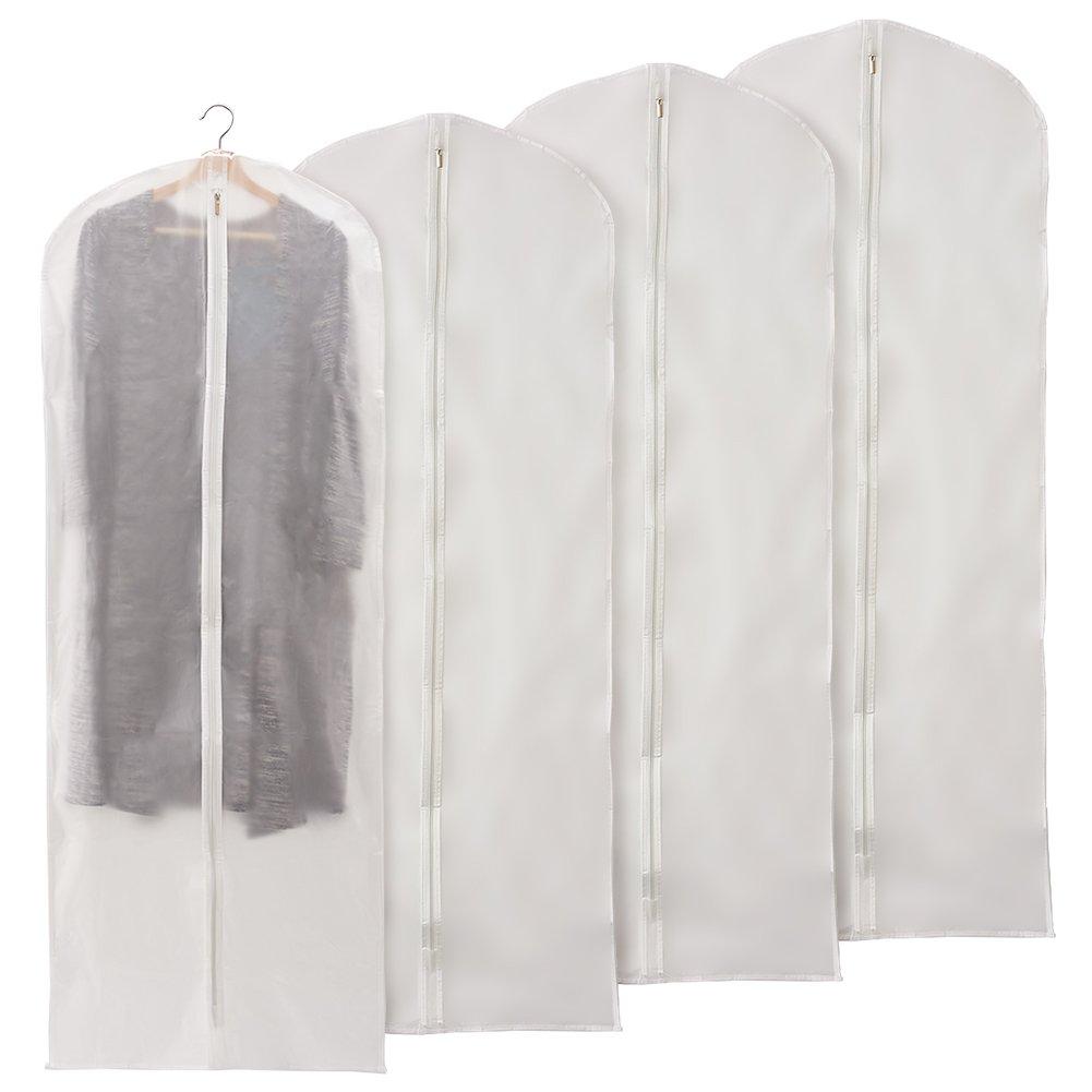 EZOWare 60 inch Garment Bag, Clear Foldable Breathable Garment Suit Shirt Dress Jacket Coat Dust Cover Travel Bag - Set of 4