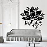 Wall Decal Decor Decals Sticker Art Design Vinyl Namaste Lotus Flower Symbol Fertility Life Inscription India Spirituality Eternity (M1134)