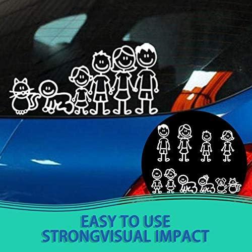 N//V Kawaii Divertido Miembro de la Familia Decorativa Reflectante Auto Decal Cartoon Car Sticker Bumper Car Body Decal Suministros