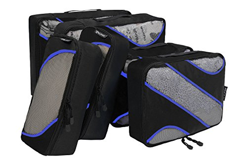 6 Set Packing Cubes,3 Various Sizes Travel Luggage Packing Organizers Black