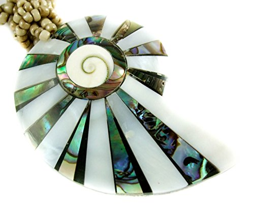 Natural Abalone Shell Mother of Pearl Shiva Eye Pendant 19 Inches Beads Necklace Handmade Women Jewelry EA209