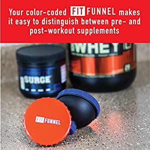 Fit Funnel Protein Powder and Supplements Container | Fits Standard-Size Water Bottles | Use with Protein Powder, Pre-Workouts, Post-Workouts & More | Comes with Bonus Zipper Pouch