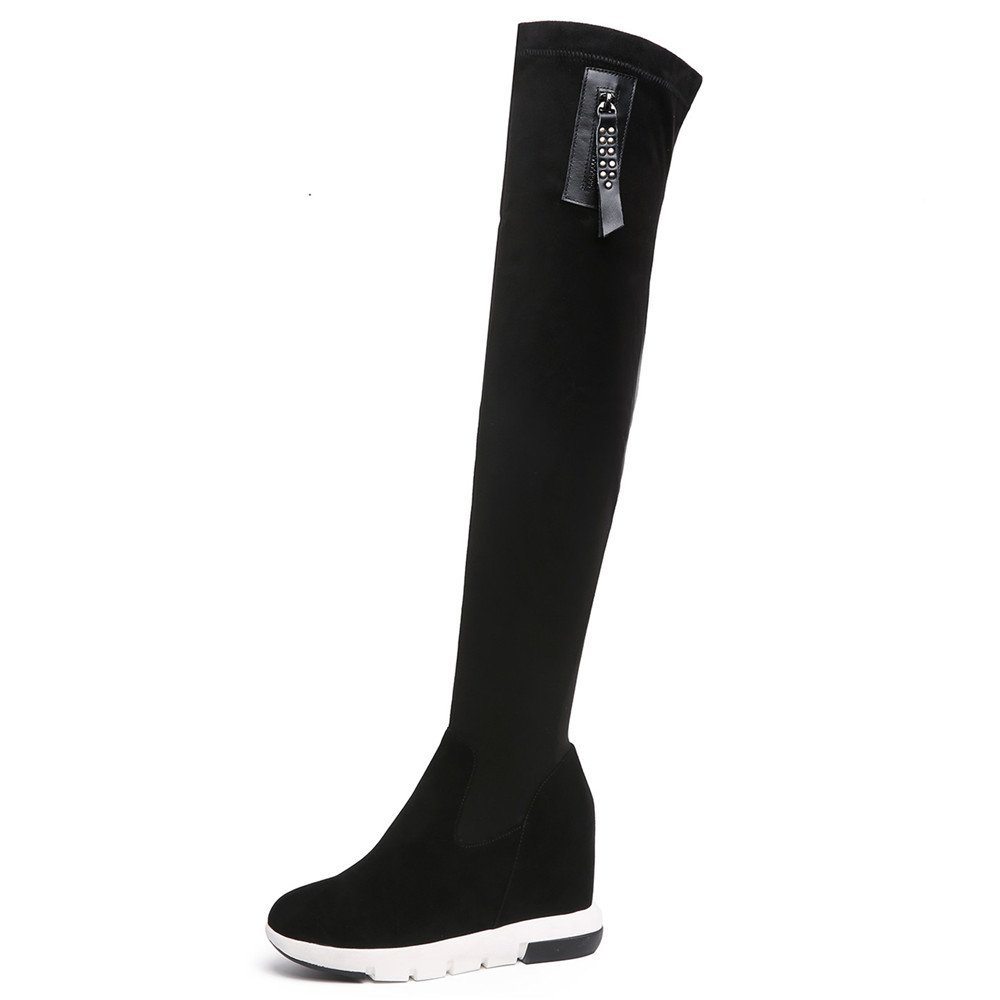 Nine Seven Suede Leather Women's Round Toe Wedge Heel Comfort Handmade Over The Knee Boots (5, Black)