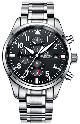 Mens Luxury 25 Jewels Automatic Luminous Analog Chronograph Calendar Transparent Cover Waterproof Watches (Silver)