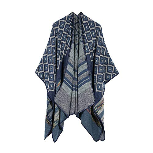 Women's Bohemian Shawl Knitted Faux Cashmere Ponchos Blanket Stole Cardigan Coat