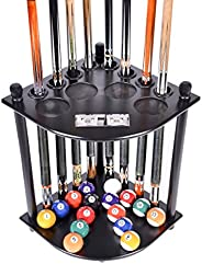 ISZY Billiards Cue Rack Only - 8 Pool Billiard Stick & Ball Floor Stand with Scorer Choose Mahogany, Black