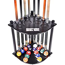 Iszy Billiards Color Black Cue Rack Only - 8 Pool Billiard Stick & Ball Floor Stand with Scorer