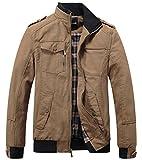 Wantdo Men's Cotton Stand Collar Windbreaker Jacket Medium Khaki
