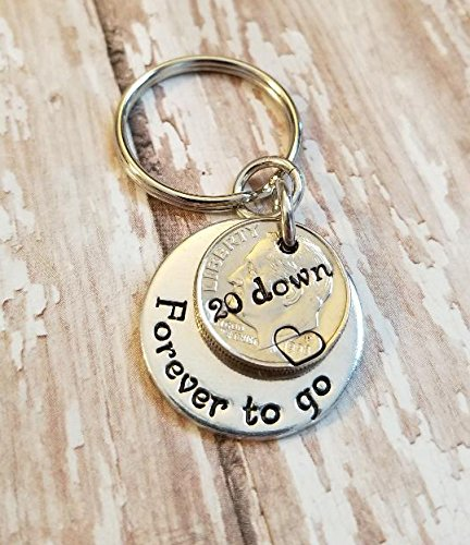 Two 1997 or 1998 Dimes for 20 Down Forever To Go Key Chain 20th Anniversary Gift