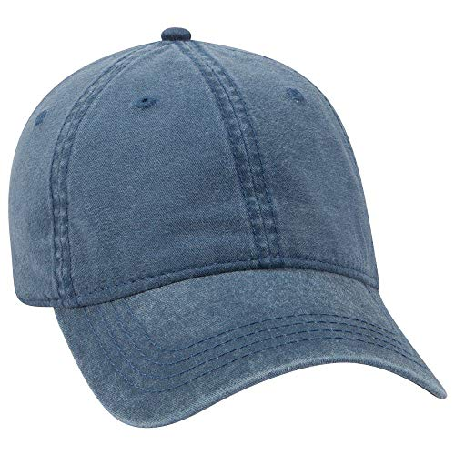 OTTO 6 Panel Low Profile Garment Washed Pigment Dyed Baseball Cap - Navy ()