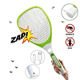 USB Rechargeable Electric Fly Swatter Bug Zapper Mosquito Killer Racket with LED Flashlight (White Green)